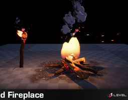 3D asset animated Stylized Fireplace PRO