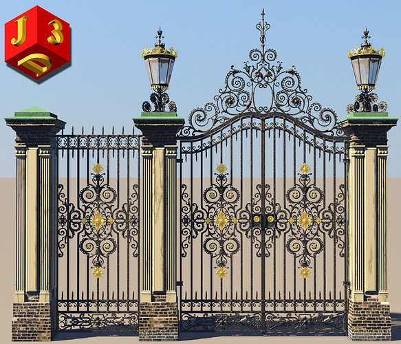 antique gate-3 3d model obj mtl 3ds c4d stl dae X 1