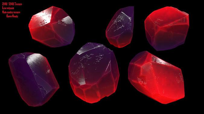 crystal  3d model low-poly obj mtl fbx blend 1