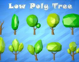 Low Poly Cartoon Tree Pack 3D model