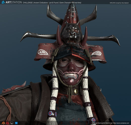 undead samurai rigged 3d model low-poly rigged fbx unitypackage prefab 1