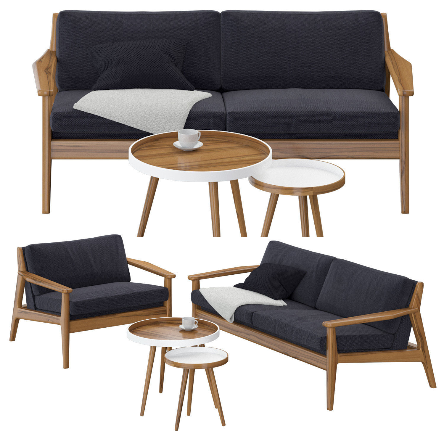 Scandinavian sofa set | 3D model