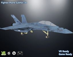 Fighter Plane Sukhoi-30 Low Poly 3D model