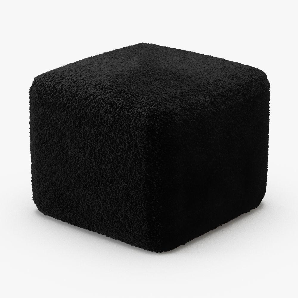 Black Curly Sheepskin Square Pouf