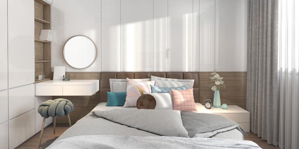 Simple White Wood Modern Master Bedroom scene   3D model