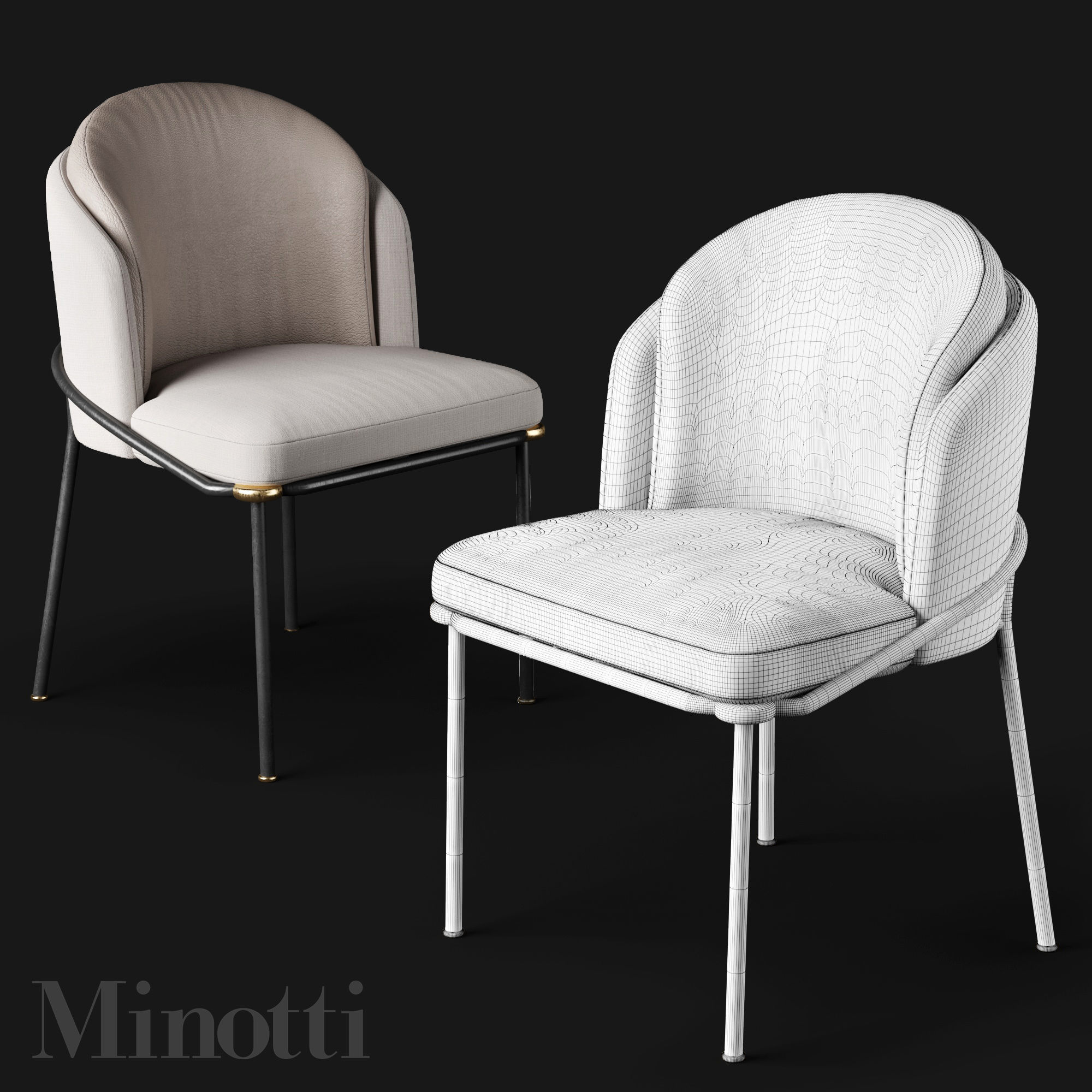 ... dining chairs minotti fil noir 3d model max obj fbx mtl 4 ... : noir dining chairs - Cheerinfomania.Com