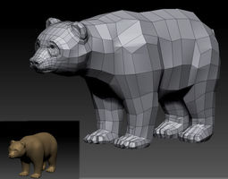 3d lowpoly bear realtime