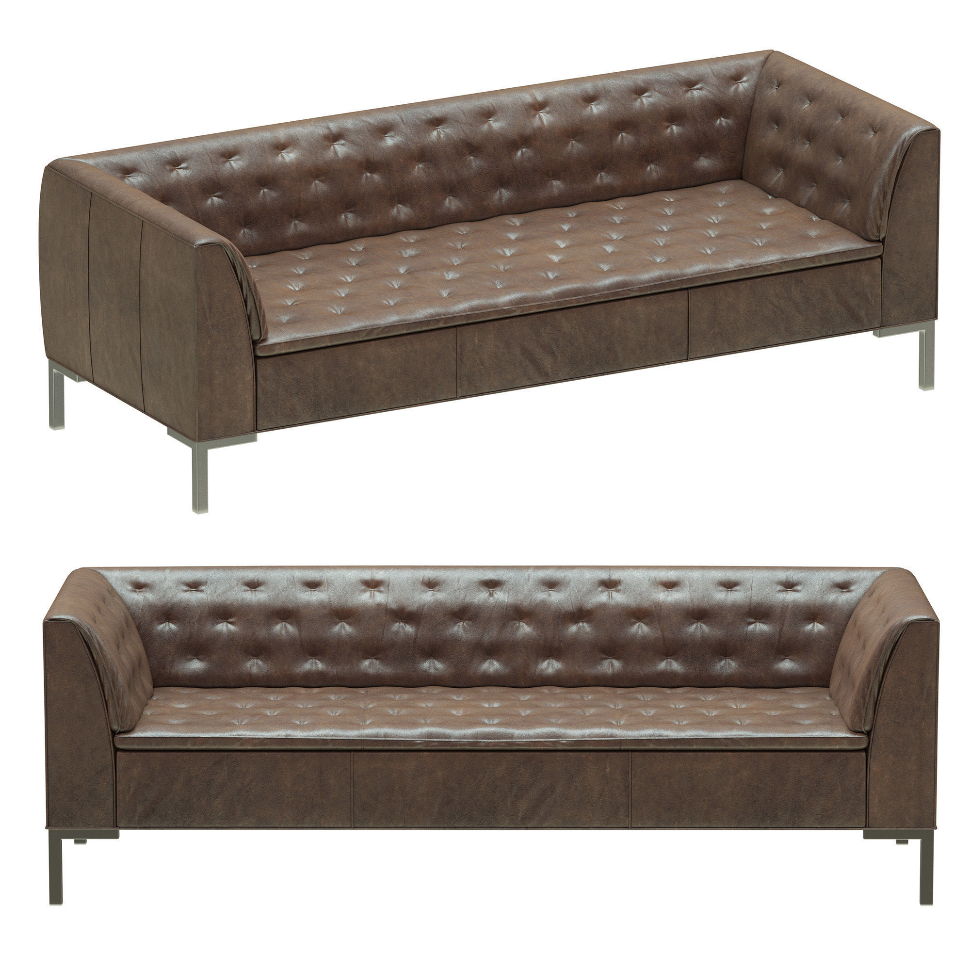 Crate And Barrel Grafton Leather Chesterfield Sofa 3d Model Max Obj Mtl 3ds  Fbx 1 ...