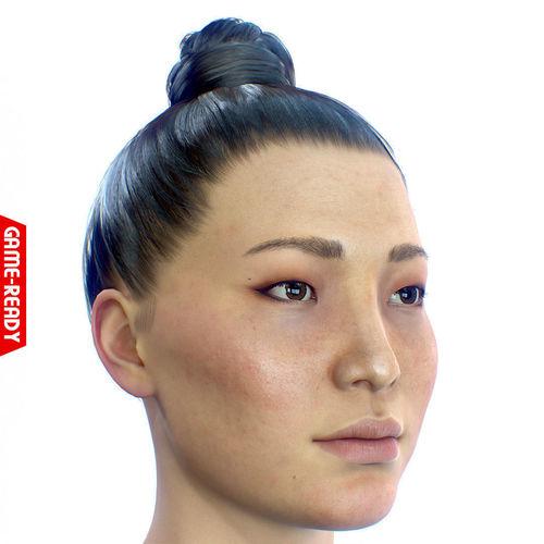 average asian female head 3d model low-poly obj mtl fbx ma mb ztl tga tbscene tbmat 1