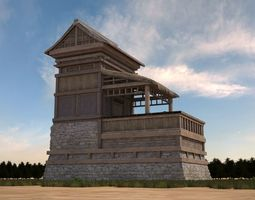 low-poly 3D model of wooden house in ancient format
