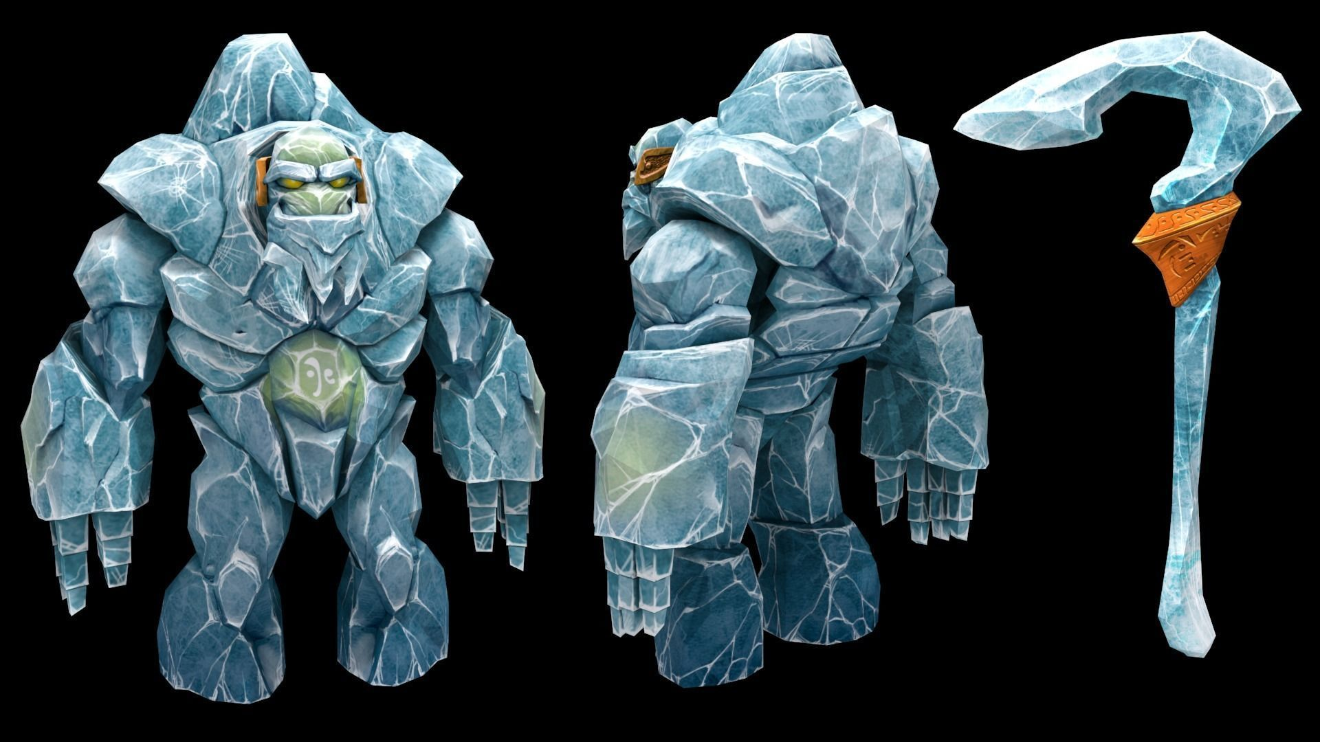 Ice Golem Character low poly modeling for game