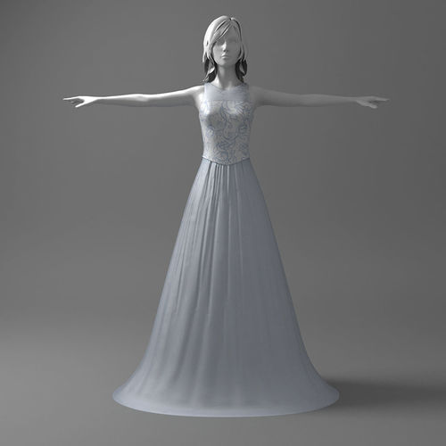 Nice wedding dress 3D | CGTrader