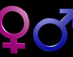 3D model realtime Low poly Symbols of gender 1