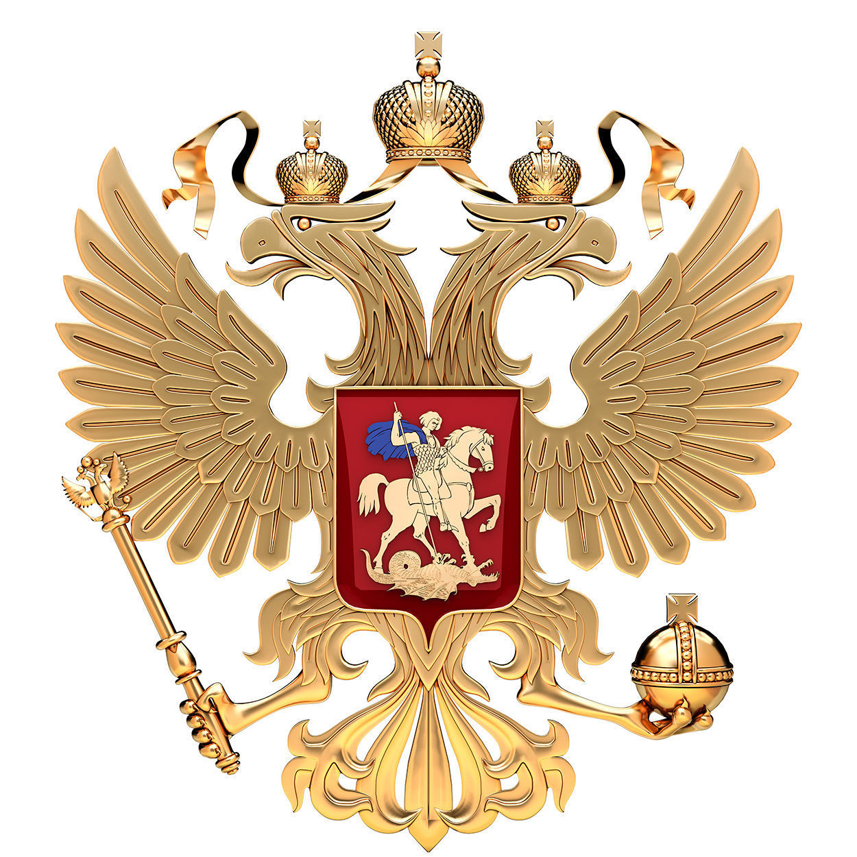 Coat Of Arms Of Russia With Golden Eagle 3d Cgtrader