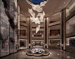 elegant hall interior with chandelier 3d