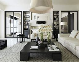 3d living room interior with exquisite rug