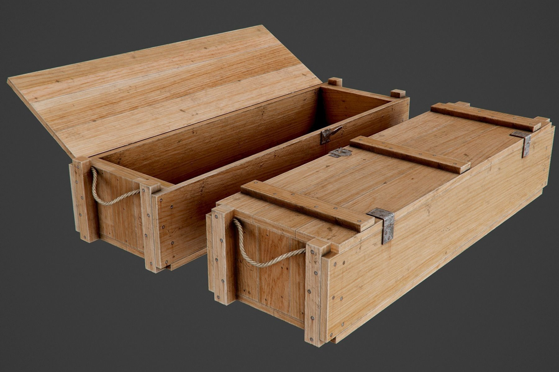 wooden ammo box pbr game ready 3d model cgtrader