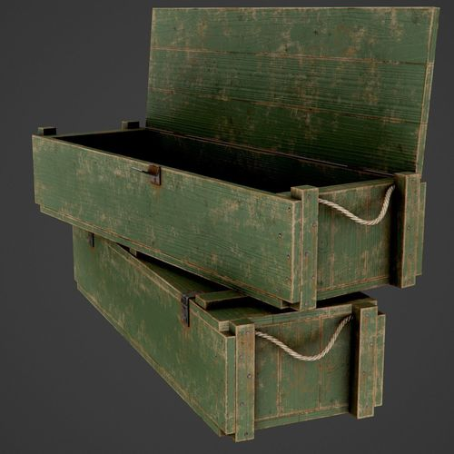 3d model painted wooden ammo box pbr game ready