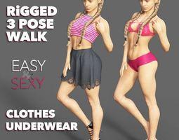 3D asset Female Rigged - Clothes - Underwear - Walk 3