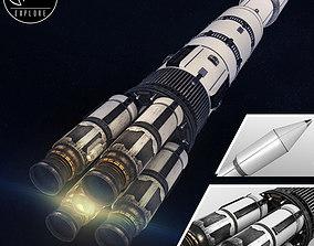 3D Space sci-fi rocket ship