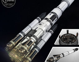 Space sci-fi ship rocket high detail 3D model