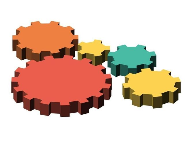 Simple low-poly cogs