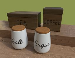 Kitchen Containers for Coffee - Tea - Sugar - Salt 3D