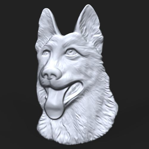 german shepherd dog bas relief for cnc 3d model obj mtl stl ztl 1