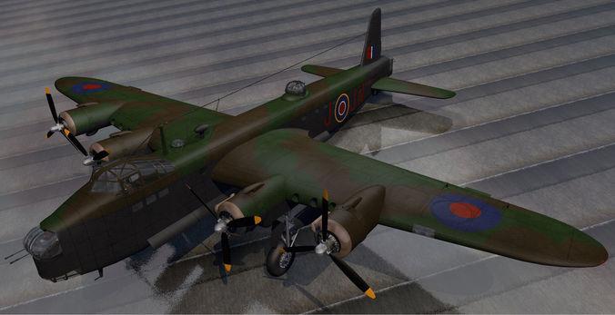 short stirling mk-3 - rnzaf 3d model obj mtl 3ds fbx c4d lwo lw lws dae 1