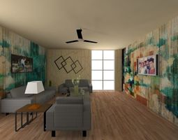 animated Living room 3d Model small room