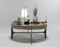 3D model Decorative set 1504 with Natuzzi coffeetable