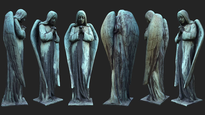 old angel statue pbr 3d model low-poly max obj mtl 3ds fbx dae tga 1