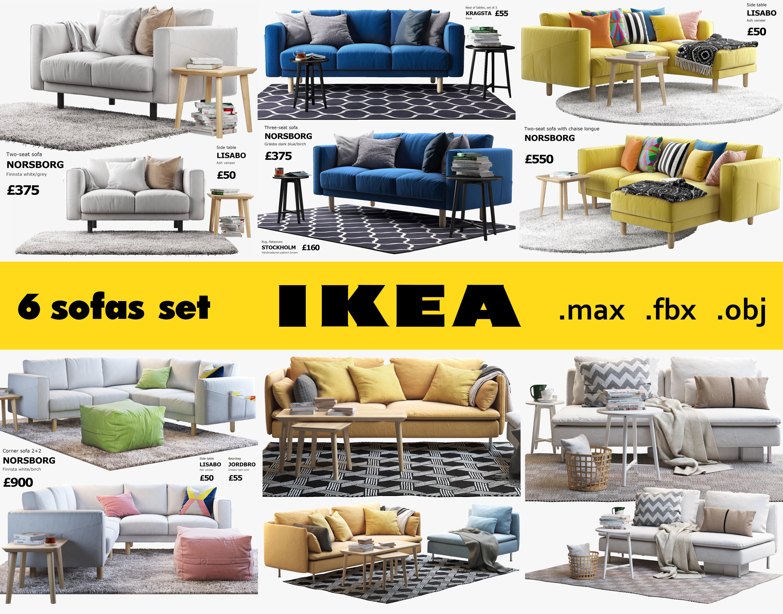3D model Ikea 6 sofa set | CGTrader