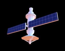 Low-Poly Satellite 3D asset