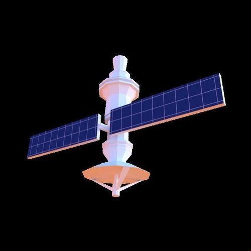 low-poly satellite 3d model low-poly obj mtl 3ds fbx stl blend dae 1