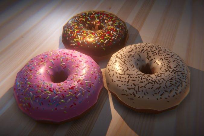 donut 3d model low-poly obj mtl 3ds fbx blend unitypackage prefab tbscene tbmat 1