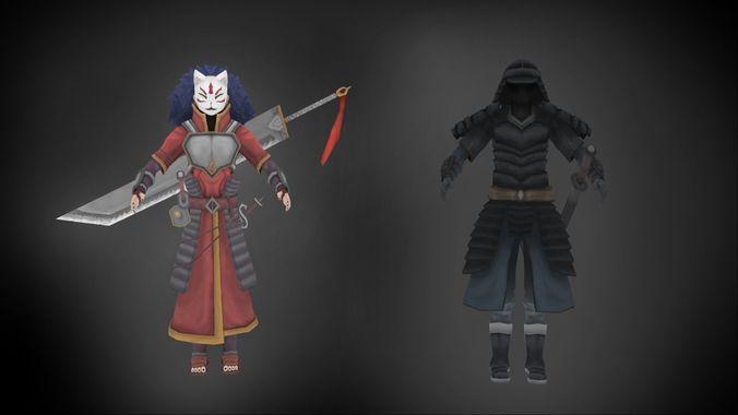 3d asset dual character ninja hero and dark samurai