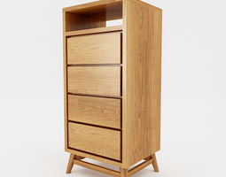 mid century storage cabinet 3d asset VR / AR ready