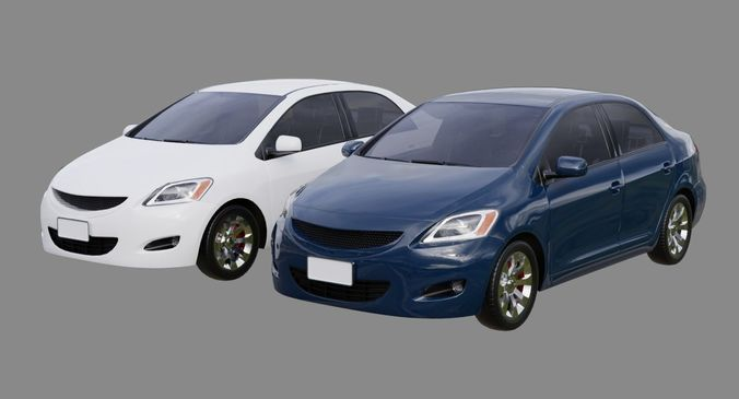 generic car 1a 3d model low-poly obj mtl fbx blend 1