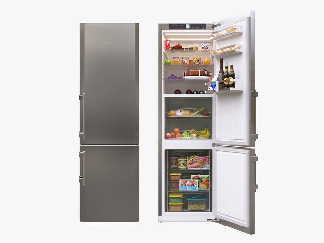 liebherr single fridge cbs 1360 opened with food 3d model max obj mtl 3ds fbx 1