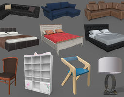 3D asset Next-gen low-poly interior props for games and 1