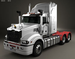 Mack Trident Axle Back High Rise Sleeper Cab Tractor 3D 1
