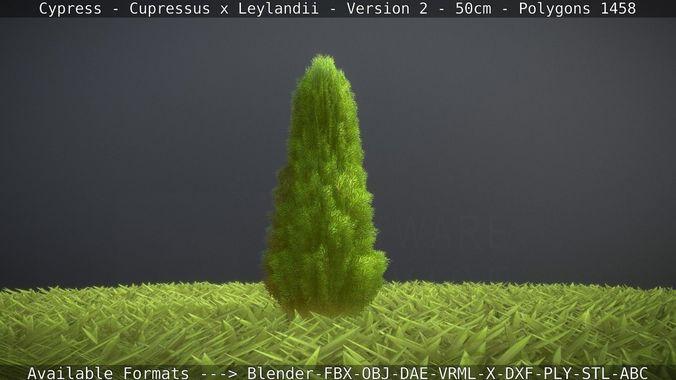 low-poly cypress - cupressus x leylandii - version 2 - 50cm 3d model obj mtl 3ds fbx dxf stl blend 1