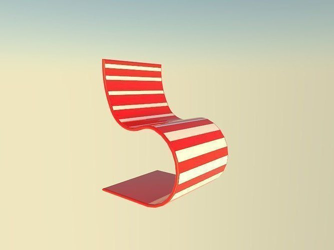 red and white seat 3d model low-poly obj mtl 3ds fbx 1