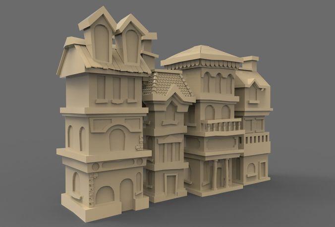 house street 3d model low-poly obj mtl 3ds fbx c4d 1
