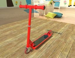 red and black scooter low-poly 3d asset