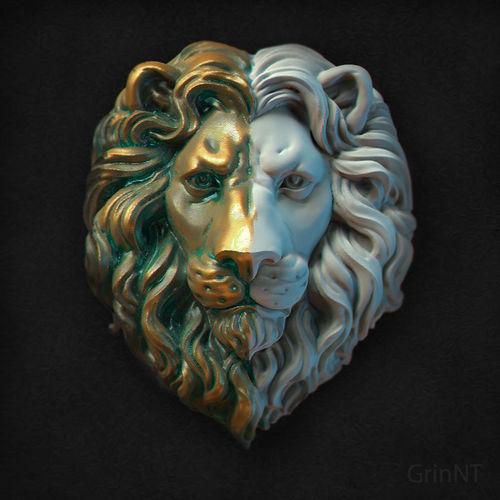 lions head relief 3d model stl 1