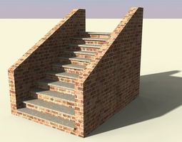 3d asset game-ready brick stairs