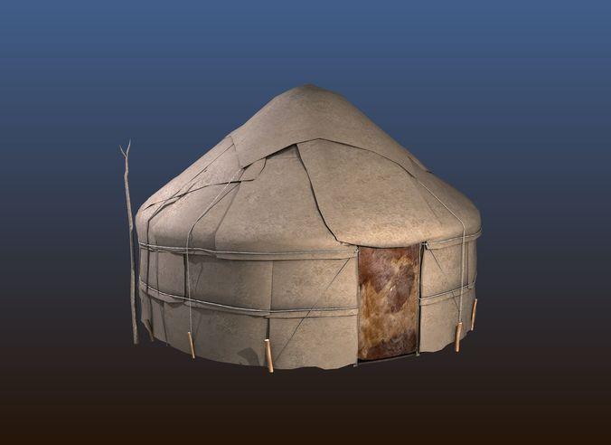 yurt house 3d model max obj mtl fbx blend 1