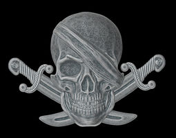 The bas-relief of pirate skull with the knifes 3D print 1